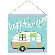 "10""Sq MDF ""Happy Camper"" Sign - Blue / White / Green / Pink / Black"