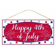 "12.5""L X 6""H MDF ""Happy 4Th Of July"" Sign - Red / White / Blue"