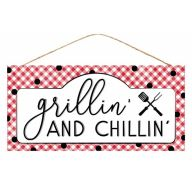 "12.5""L X 6""H MDF ""Grillin' And Chillin'"" Sign - White / Red / Black"