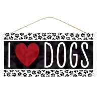 "12.5""L X 6""H MDF ""I Heart Dogs"" Sign - Black / White / Red"