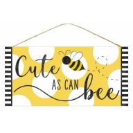 "12.5""L X 6""H MDF ""Cute As Can Bee"" Sign - Yellow / White / Black"