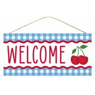 "12.5""L X 6""H MDF ""Welcome"" Cherry Sign - Blue / White / Red"