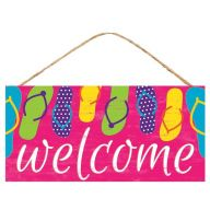 "12.5""L X 6""H MDF ""Welcome"" w/ Flip Flops Sign - Pink / White / Multi"
