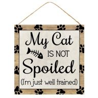 "10""Sq MDF ""My Cat Is Not Spoiled (I'm Just Well Trained)"" Sign - Light Brown / Black"