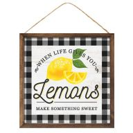 "10""Sq MDF ""When Life Gives You Lemons Make Something Sweet"" Sign - Black / Yellow / White"