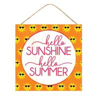 "10""Sq MDF ""Hello Sunshine Hello Summer"" Sign - Orange / Yellow / White"