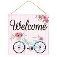 "10""Sq MDF ""Welcome"" Bicycle Sign - Pink / Black / Blue / Tan"