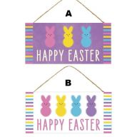 """12.5""""L X 6""""H MDF """"Happy Easter"""" Sign w/ Bunnies (2 Styles)"""