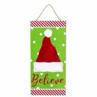 """12.5""""H X 6""""L Believe w/ Santa Hat Sign - Lime / Red / White"""