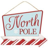 "12.5""L X 10""H MDF ""North Pole"" Sign - Light Blue / Red / White"