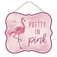 "10.5""L X 9""H MDF ""Pretty In Pink"" Glitter Sign w/ Jute - TT Pink / Black / White"
