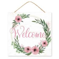 """10""""Sq MDF """"Welcome"""" Floral Wreath Glitter Sign - White / Pink / Green / Black"""