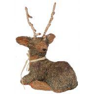 """Grass Deer Laying 13.5 X 4.75 X 9.5 """""""