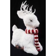 "13 "" Lying White Deer w / Red / White Scarf 13 x 6.25 x 13"