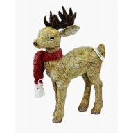 Standing Deer W/Red Scarf 13.25X4.25X19.25