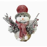 Snowman W/Stocking Hat And Scarf 7.5X7X13