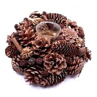 "9"" X 9"" X 3.25"" Pinecone Voltive Candle Holder"
