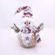 "14"" Natural Snowman w/ Scarf 8"" X 4.75"" X 9"""