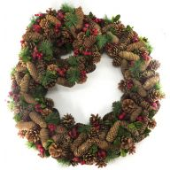 "S/2 Pine Cone Wreath 27.5"" X 27.5"" X 4.75"" and 14.25"" X 14.25"" X 14.25"" - Green / Brown / Red / Black"