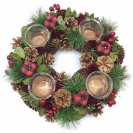 "12.5"" X 12.5"" X 3.5"" Pine Cone Wreath w/ 4 Glass Cups & Buffalo Plaid - Green / Brown / Red / Black"