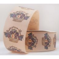 "1.5"" X 50 YD FLORAL SATIN PRINT - BOUNTIFUL BASKET - OATMEAL"