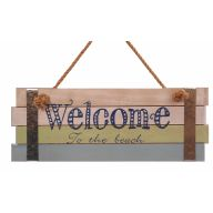 Wood Welcome To The Beach Plaque W Tin Stripes