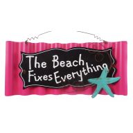 Metal Wavy Beach Fixes Everything Sign - Hot Pink