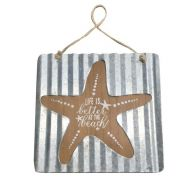 """"""" Life is better at the Beach """" Starfish Wood / Metal Sign - Light Beige / Silver / Navy"""