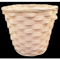 "7.5"" Dia x 6.5""H x 5.5"" Bottom Round Bamboo Pot Basket w/ Sewn in Liner - White (HOLDS 6"" POT)"