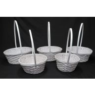 S / 5 Round Bamboo Basket w/ Liner - White