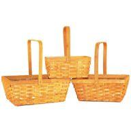 S/3 Wood Basket Folding Handle