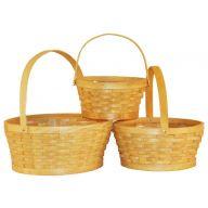 S/3 Woodchip Basket W / Folding Handle