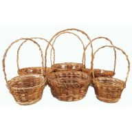 S / 6 Round Rattan Curl W Rope Handle