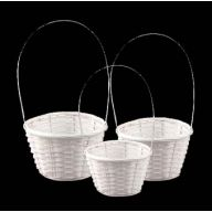 S / 3 Round Bamboo Basket Plastic Liner - White