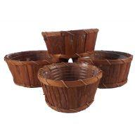 Single Round Bark Basket W/ Hard Liner
