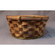 "12 "" Stained Bamboo Pot Basket W / Liner"