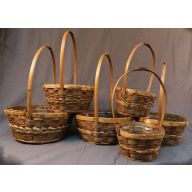 "Set Of 6 Round Bamboo Basket With Hard Liner (  L-11"" / S- 6 "" )"
