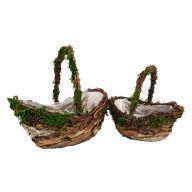 S/2 Oval Mountain Rattan Peel Baskets W/ Liners