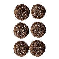 "4 "" Rattan Balls - Set of 6 - Brown"