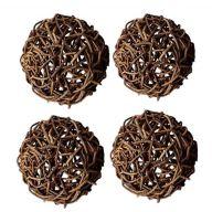 "6 "" Rattan Balls - Set of 4 -  Brown"