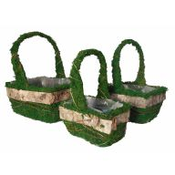 S / 3 Moss & Birch Bark Basket W / Liner