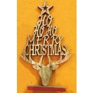 """9 x 1.7 x 16 """" Wood Merry Christmas Tree w / Deer Head & Sayings"""