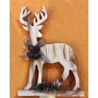 """8.6 x 1.8 x 12.5 """" Wood Deer"""