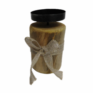 "3.25"" X 3.25"" X 6.25"" Wood Candle Holder"