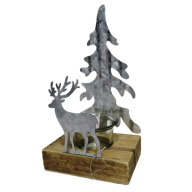 "4.25"" X 3"" X 8"" Wood / Metal Candle Holder w/ Deer"