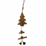 "5.5"" X 2"" X 15.75"" Hanging Wood Tree w/ Bells"