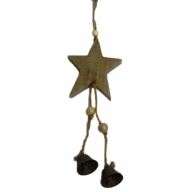 "4"" X 1.25"" X 11"" Hanging Wood Star w/ Bells"