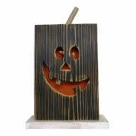 9.5 X 3 X 15.25 Wood Pumpkin Face w/ LED Light (Battery Included)