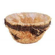 Round Rattan Woods Basket W/ Tree Flower