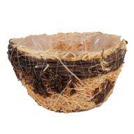 Rattan Woods Basket W/ Tree Flower & Liner